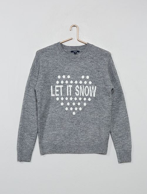 Pull de noël 'Let it snow'                             gris
