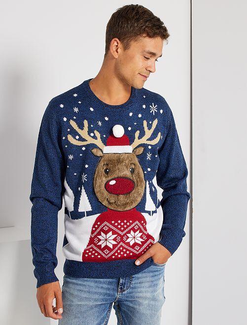 Pull de Noël 'renne'                                         bleu