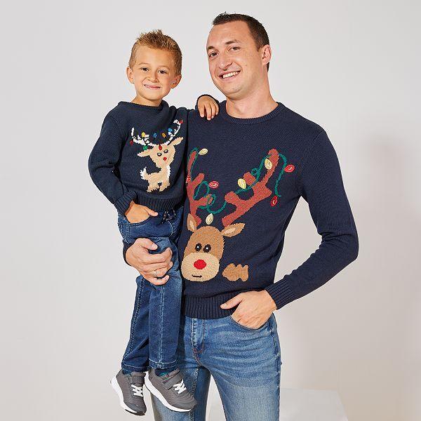 Pull de Noël 'Renne' Homme - bleu marine