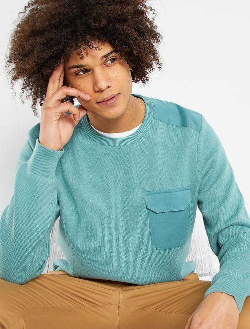 Pull détails twill                                                     bleu turquoise