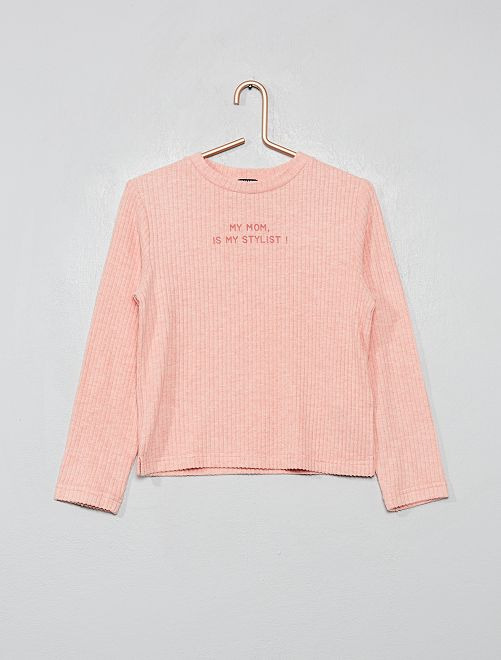 Pull doux à message                                                                 rose