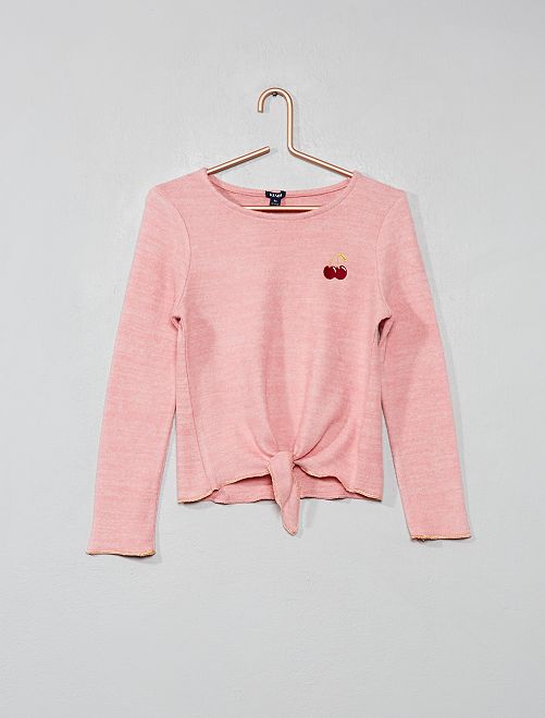 Pull doux brodé                     rose Fille