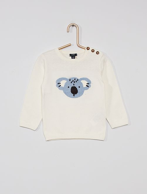 Pull éco-conçu                                                                             blanc/koala