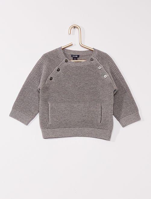 Pull éco-conçu en maille relief                                                                 gris