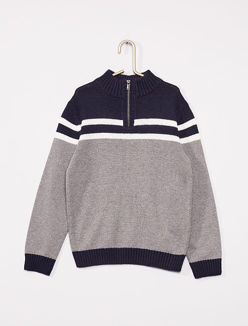 Pull éco-conçu                                                     gris/marine