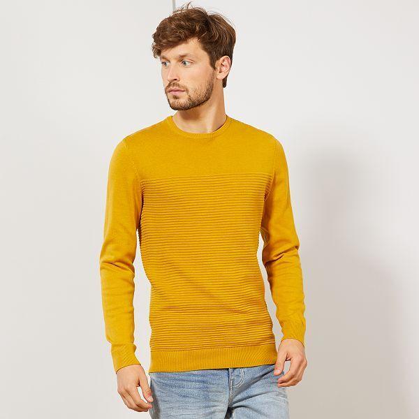 Pull éco-conçu rayures relief Homme - jaune