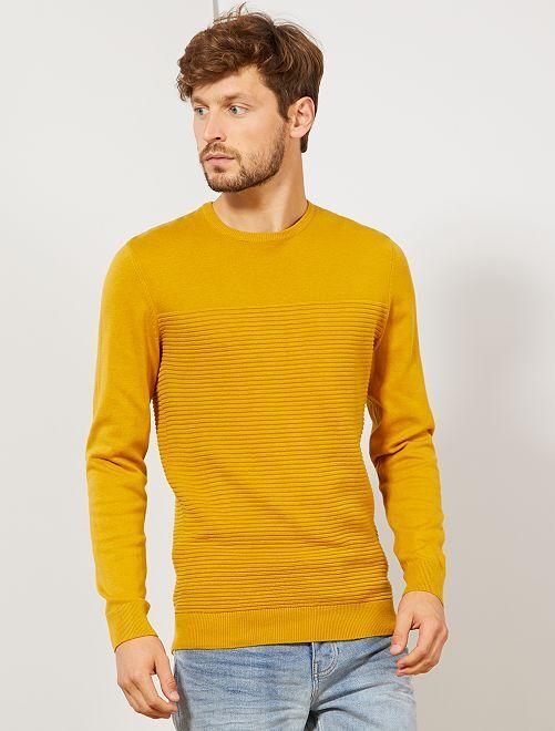Pull éco-conçu rayures relief                                 jaune