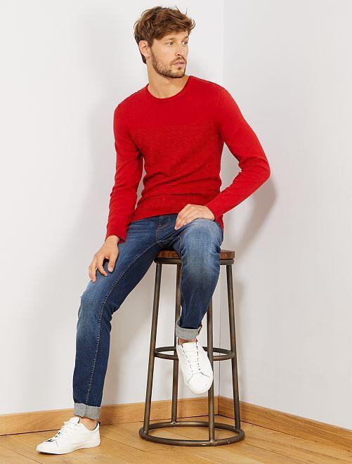 Pull éco-conçu rayures relief                     rouge