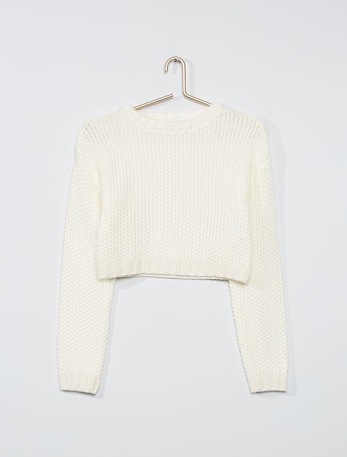 Pull effet crochet                                         blanc