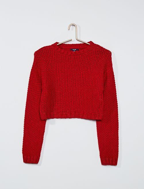 Pull effet crochet                                         rouge
