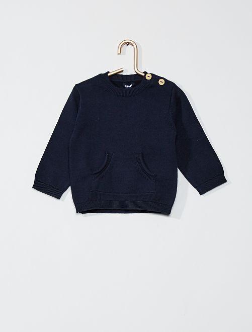 Pull en coton 'éco-conception'                                                     bleu marine