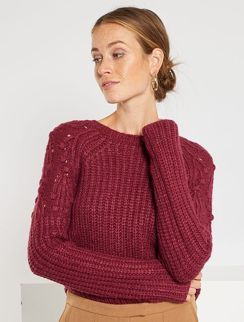 Pull en grosse maille                                         rouge rhododendron