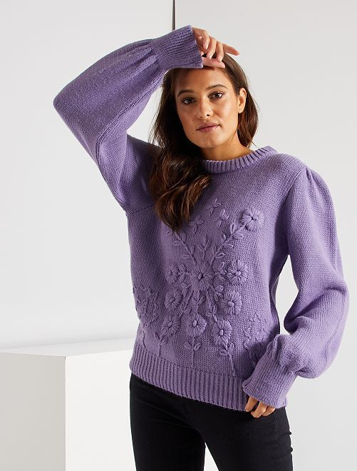 Pull en maille à broderies                                                                 lila