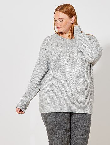 Grande taille femme - Pull en maille ajourée avec torsades - Kiabi