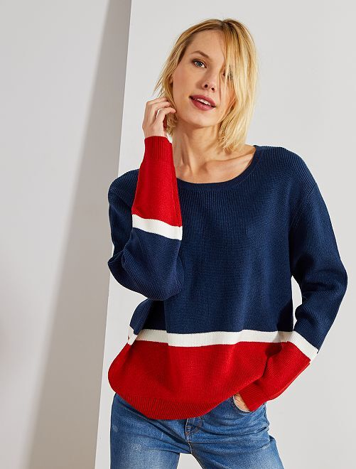 Pull en maille color block                                 bleu rouge