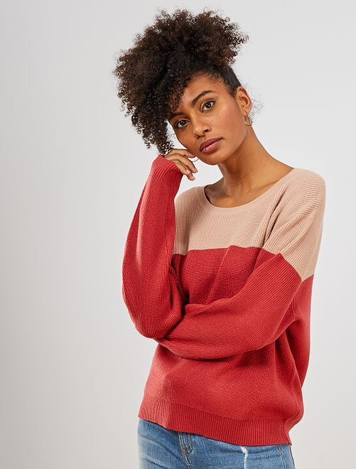 Pull en maille color block                                                                 rose