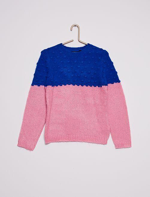 Pull en maille côtelée bicolore                                         rose/bleu