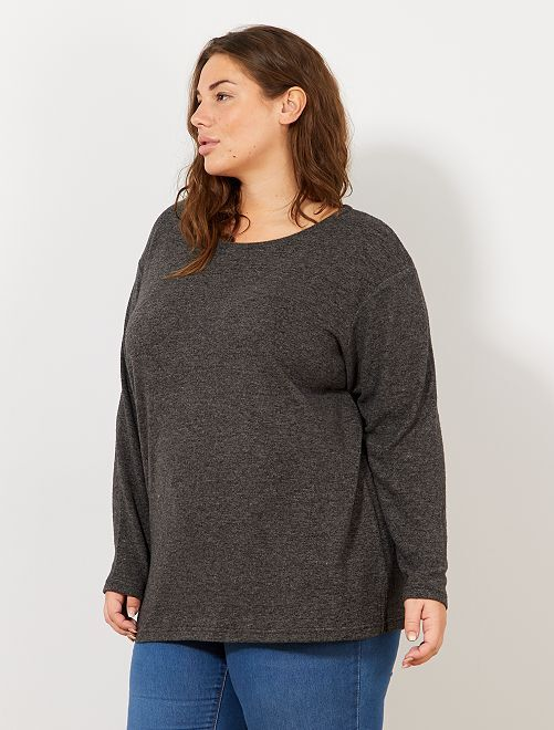 Pull en maille douce                                         anthracite chiné