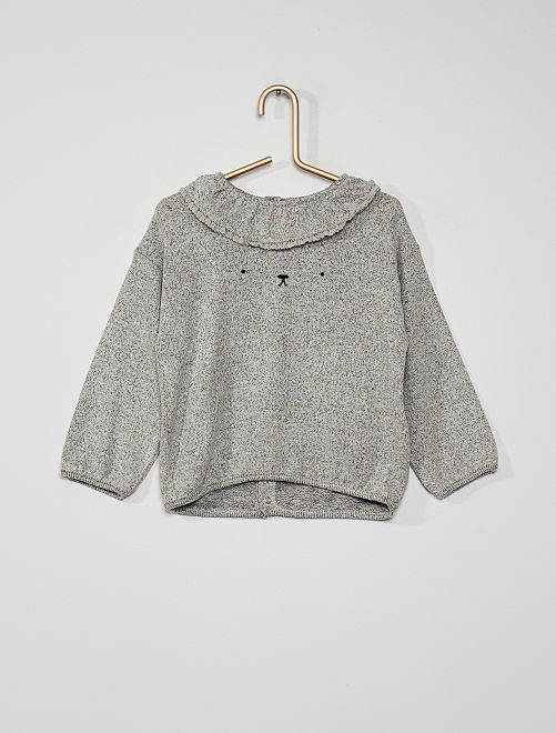 Pull en maille douce col claudine                                                     GRIS