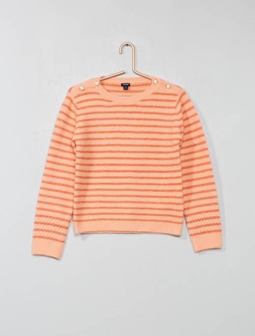 Pull en maille douce                                                                 rayé rose Fille