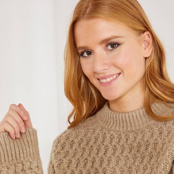 Pull en maille fantaisie Femme - beige - Kiabi - 20,00€ dd4c89cd1009