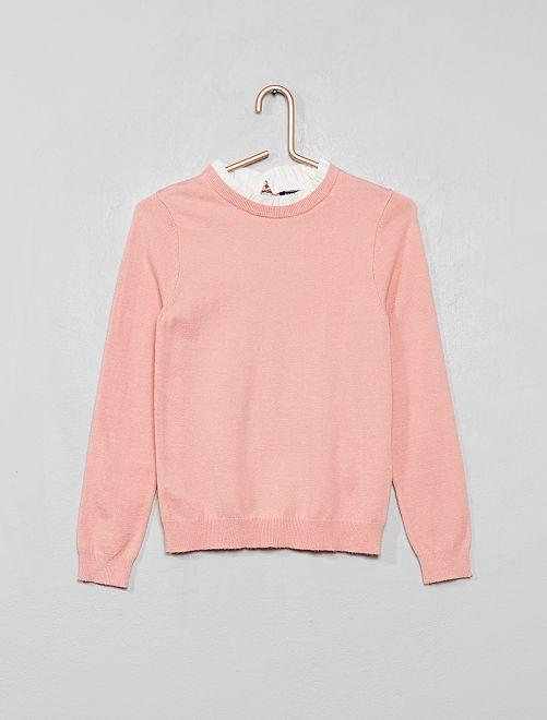 Pull en maille fine avec collerette                                                     rose