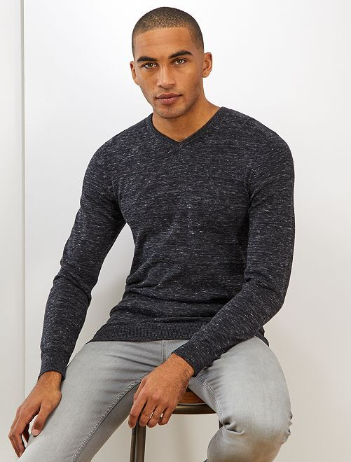 Pull en maille fine col V                                                                                                                                                                                                                                                                             anthracite chiné Homme