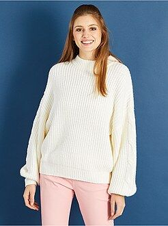Pull blanc - Pull en maille grosse jauge manches oversize - Kiabi