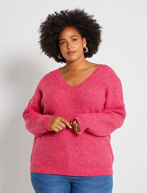 Pull en maille grosse maille chinée                                         fuchsia chiné