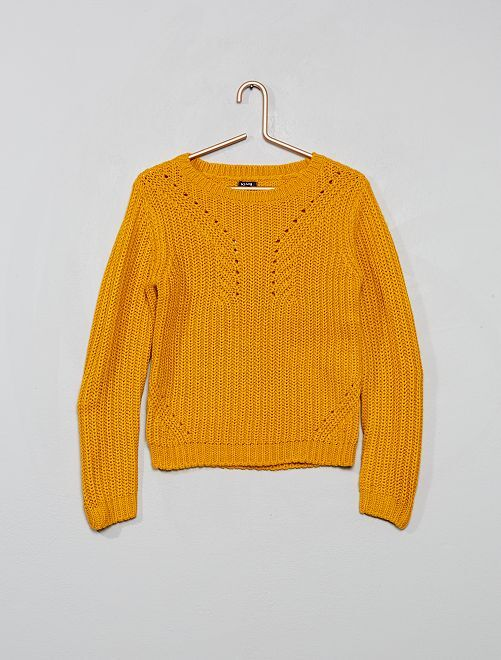 Pull en maille                                                                             jaune moutarde