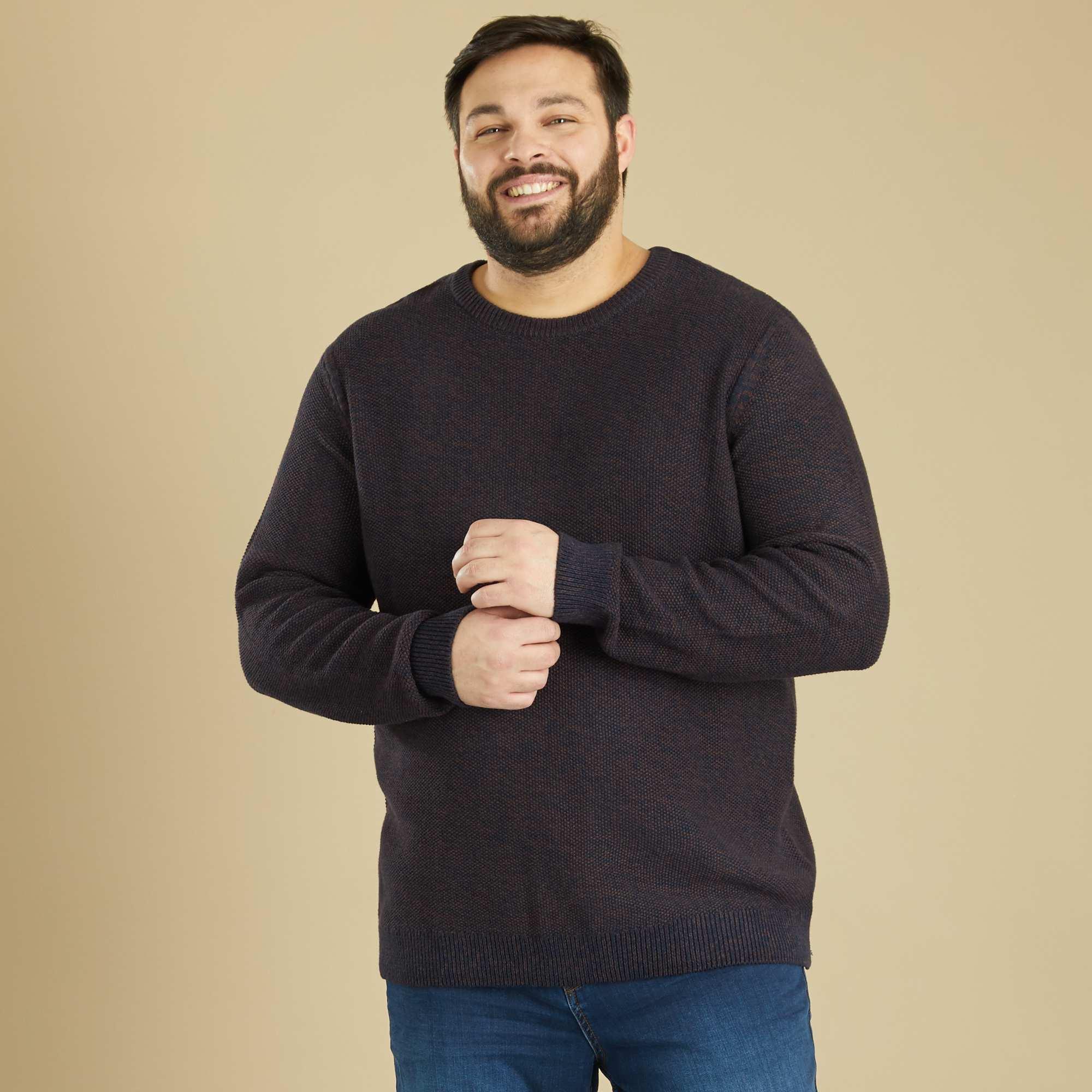 pull en maille moulin e grande taille homme marron. Black Bedroom Furniture Sets. Home Design Ideas