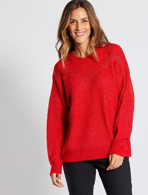 Pull en maille mousseuse                             rouge chiné