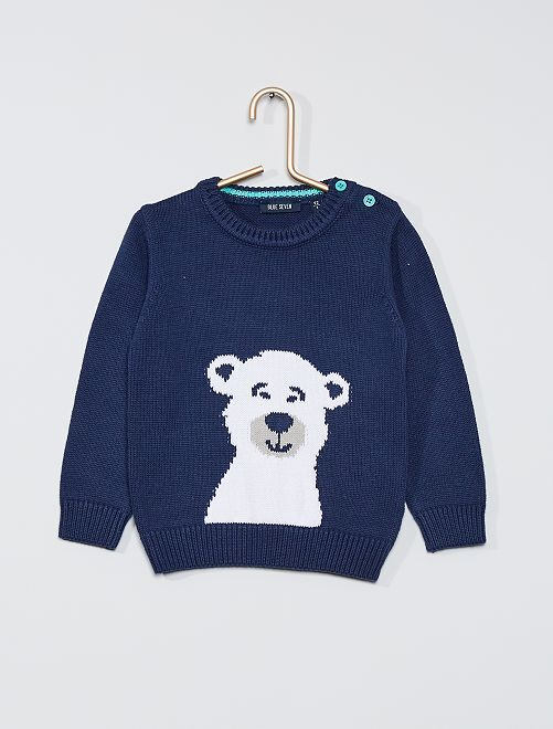 Pull en maille 'ours polaire'                             bleu marine
