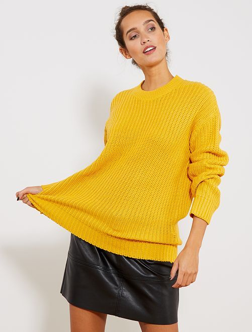 Pull en maille perlée                                                                                                     jaune Femme