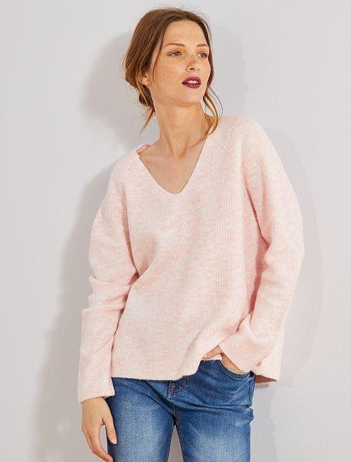 Pull en maille perlée                                                     rose