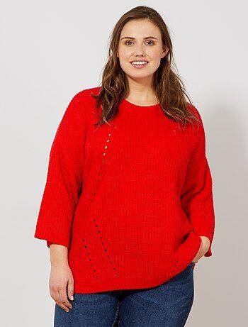 0ac7aa9bce48f Pull col v Vêtements femme   rouge   Kiabi