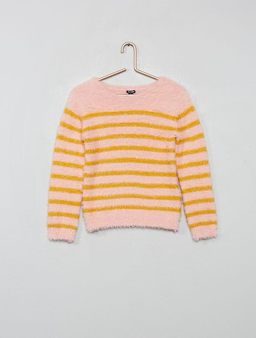 Pull en maille poilue rayée                                                                                         rose/rayé jaune
