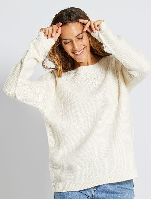 Pull en maille point mousse                                                                 blanc