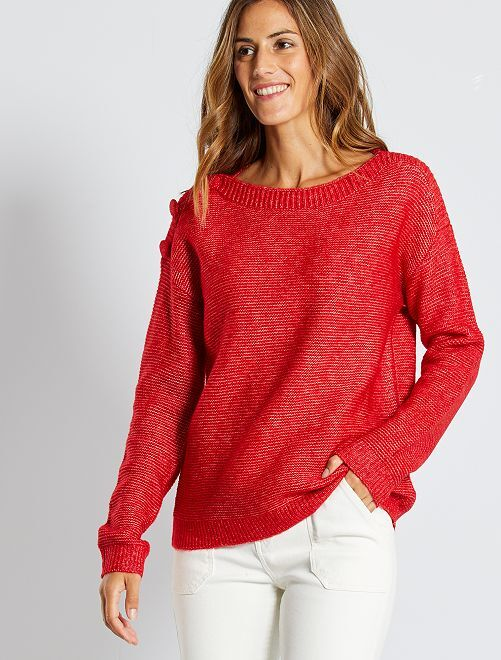 Pull en maille point mousse                                                                             rouge