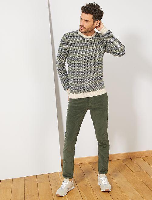 Pull en maille rayé                             bleu/vert/beige