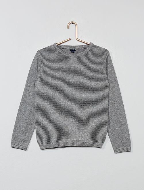 Pull en maille striée                                                                 gris chiné