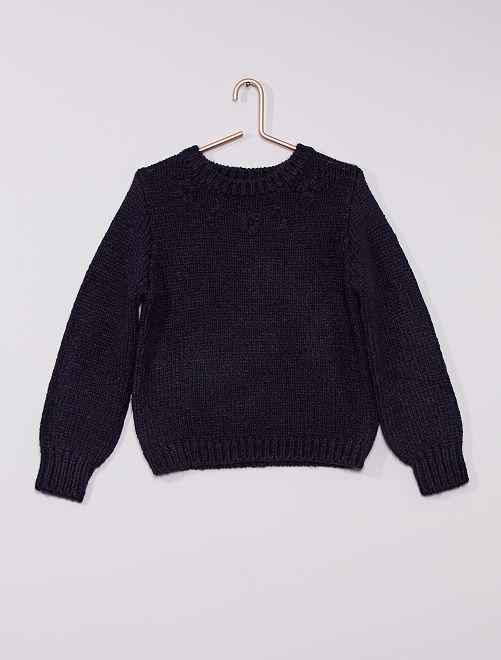 Pull en maille tricot avec fleurs bordées                                         marine