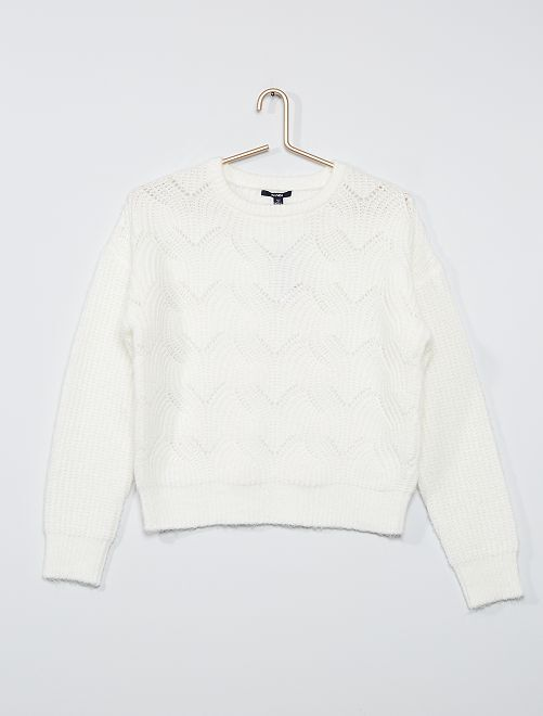 Pull en maille tricot                     blanc