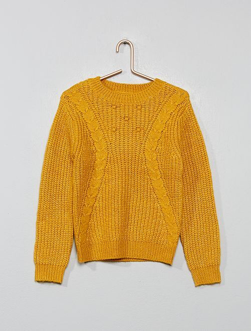 Pull en maille tricot                                         jaune moutarde