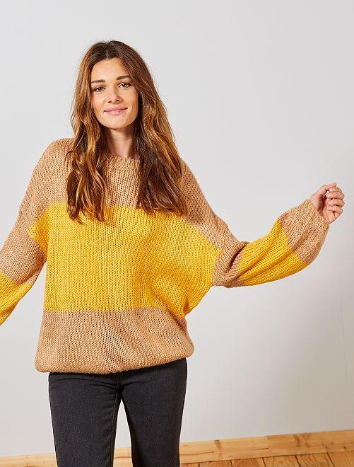 Pull en maille tricot 'rayures'                                                                                                                 beige/jaune