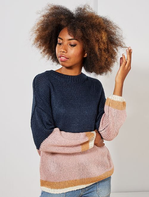Pull en maille tricot 'rayures'                                                                                                                 bleu marine/rose
