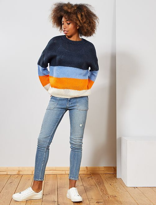 Pull en maille tricot 'rayures'                                                                                                                             bleu/ornage Femme
