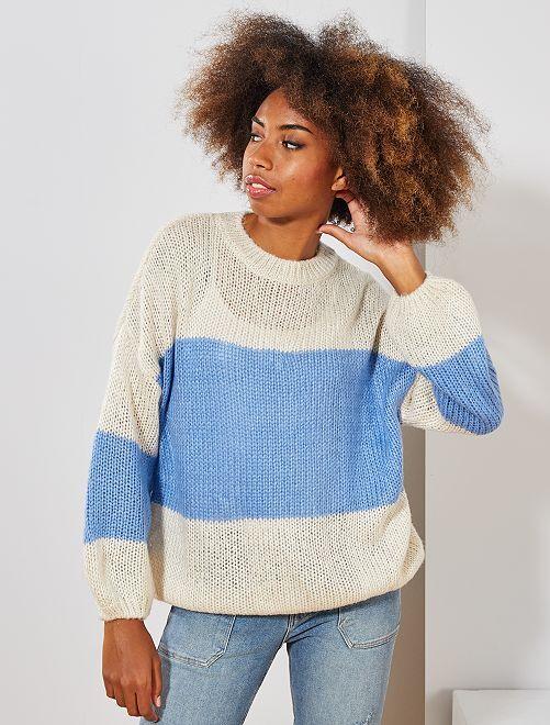 Pull en maille tricot 'rayures'                                                                                                     écru/bleu