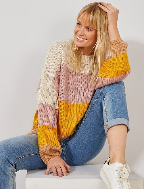 Pull en maille tricot 'rayures'                                                                                                                 écru/jaune/rose