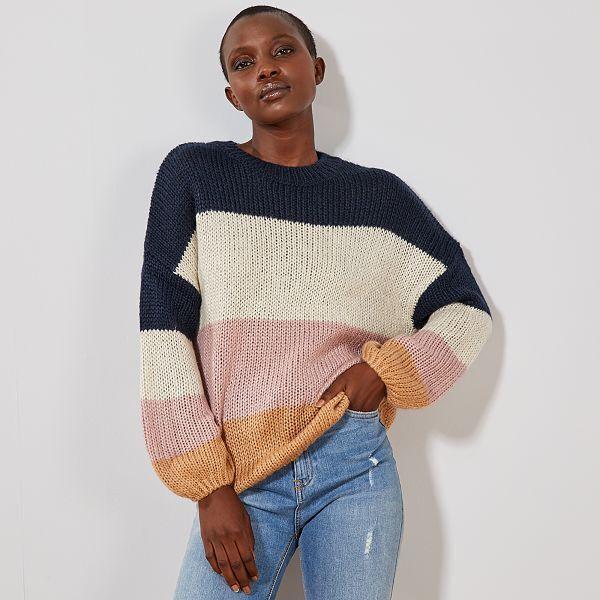luxe vente pas cher regard détaillé Pull en maille tricot 'rayures'